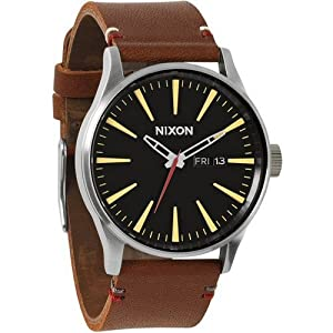 Nixon Men's Sentry Leather Watch One Size Black