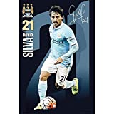 Manchester City FC Official Football Gift David Silva Poster - A Great Christmas / Birthday Gift Idea For Men And Boys