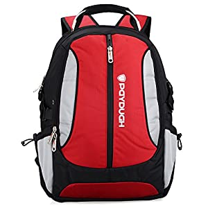 Paydugh Business Backpack Laptop Backpack Travel Backpack School Backpacks Sports 17 or 19inch (Red&Grey 19inch Upgrade Version)