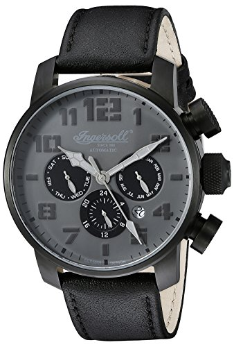 Ingersoll Unisex Automatic Watch with Black Dial Analogue Display and Black Leather Strap IN1224BKGY