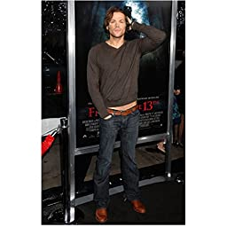 Supernatural Jared Padalecki as Sam Winchester Candid in Front of Movie Poster 8 x 10 Photo