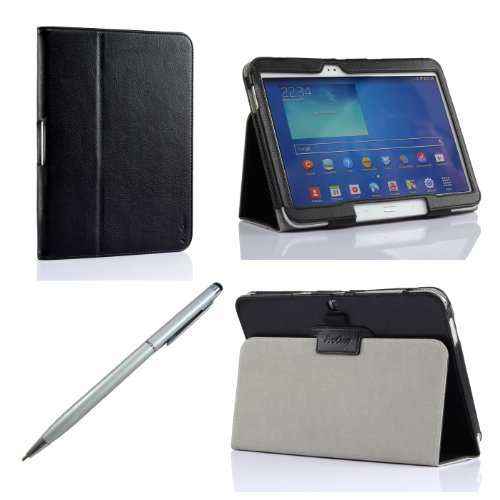 ProCase Samsung Galaxy Tab 3 10.1 Case bonus stylus pen included - Flip Stand Leather Cover Case Built-in Stand, with Auto Sleep / Wake Feature GT-P5210 /GT-P5200 (Black)