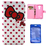 LG G Stylo Case, Sophia Shop Premium PU Leather Folio Flip Wallet Case Kickstand Magnetic Flap Closure Anti-scratch Shockproof Cover With Built-in Card Slots For LG G Stylo/LS770 (Bowknot and Dot)