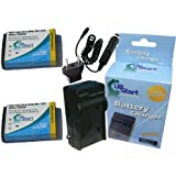 2x Pack - Kodak PlaySport Zx3 Battery + Charger with Car & EU Adapters - Replacement for Kodak KLIC-7004 Digital Camera Battery and Charger (1100mAh, 3.7V, Lithium-Ion)