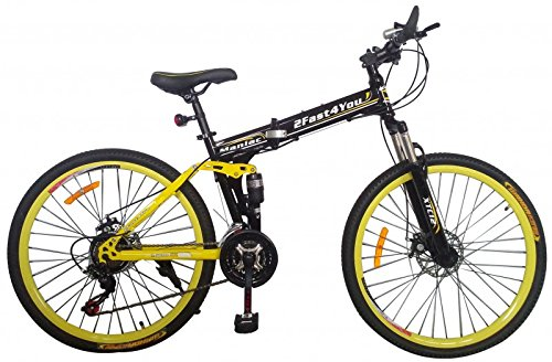 "26"" Zoll Fully Klapprad Mountainbike MTB Klappfahrrad Faltrad vollgefedert (schwarz-gelb)"