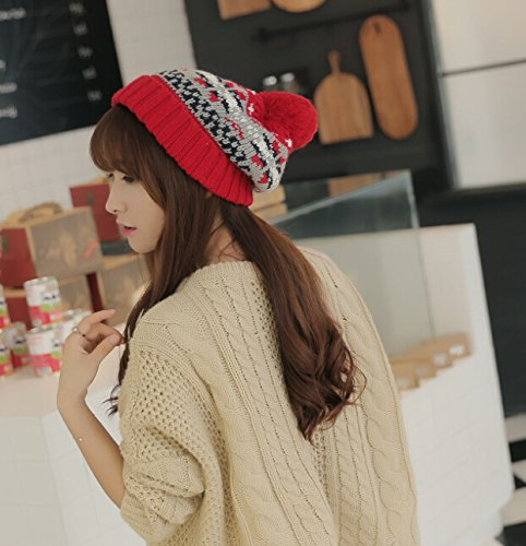 Dealzip Inc® Fashion and Lovely Christmas Style Cute Women Lady Winter Knitting Beanie Crochet Casual Ball Hat Cap-Red
