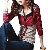 モカベリー (MocaBelly) セクシー ポロ シャツ バイカラー 着痩効果 長袖 トップス 大きい サイズ レディース (6、赤L)