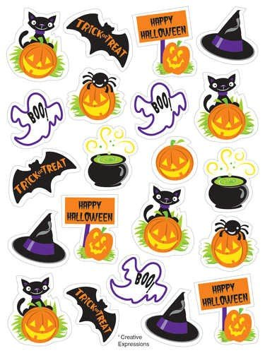 Halloween Cheer Glitter Stickers 48ct
