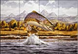 Cutthroat Trout by John Rice Tile Mural for Kitchen Backsplash Bathroom Wall Tile Mural