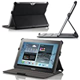 (US) MoKo Slim-Fit Folio Cover Case For Samsung Galaxy Tab 2 10.1, BLACK (with Built-in Multi-Angle Stand)-3 Year Warranty