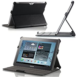 Mokotm Slim-fit Folio Cover Case For Samsung Galaxy Tab 2 10.1 Black With Built-in Multi-angle Stand