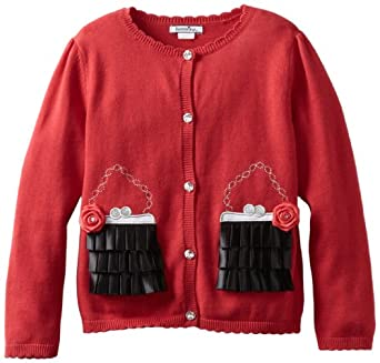 Hartstrings Little Girls' Little Purse Motif Cardigan Sweater, Red, 4