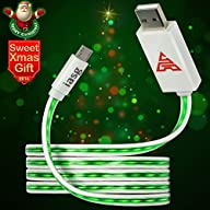 iasg Micro USB to USB Cable Visible Flowing LED Light Up Noodle Data Sync & Charging Cable Super…