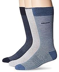 IZOD Men's 3 Pack Cushion Stripe Crew Sock, Denim heather/Oxford Heather/Navy, 10-13/Shoe Size 6-12