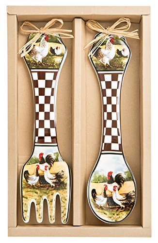 Rooster Design Wall Spoon and Fork Set (Kitchen Wall Spoon And Fork compare prices)