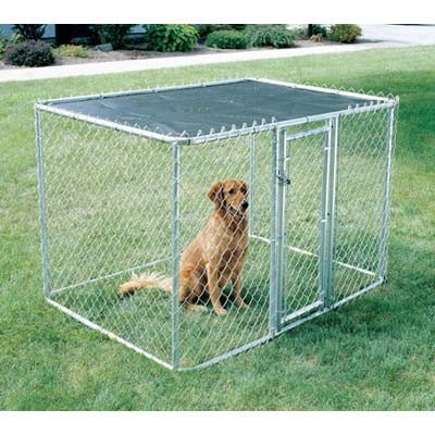 Midwest Homes For Pets 277781 Chain Link Portable Kennel With Sunscreen, 10 By 6 By 6-Inch