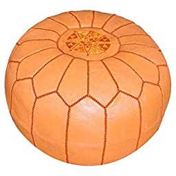 Ikram Design PF020 Round Moroccan Leather Pouf, Orange Color