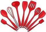 Joyoldelf 9-piezas de silicona para hornear Set - espátulas, cucharas y Turner - resistente al calor utensilios de cocina (rojo)