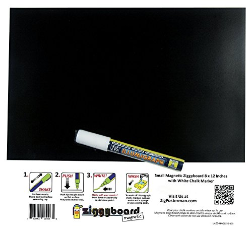 Small Magnetic Backed Kitchen or Office Ziggyboard Chalkboard with White Chalk Marker 8 X 12 Inches (Refrigerator Magnet Chalkboard compare prices)