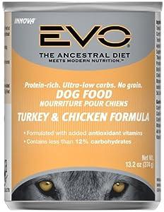 EVO Turkey & Chicken Canned Dog Food - 12x13.2 oz