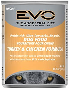 EVO Turkey & Chicken Canned Dog Food - 12x13.2 oz