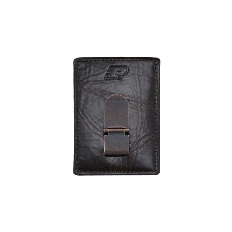 Fossil Purdue Boilermakers Brown Leather Card Holder & Money Clip