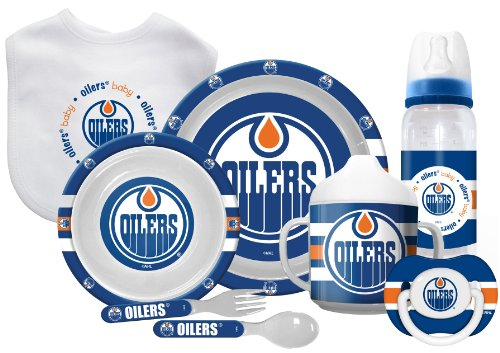 Edmonton Oilers Ultimate 8-Piece Baby Pacifier, Bib, Bottle & Dinner Set