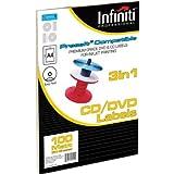 Infiniti A4 Blank White CD Label (100)