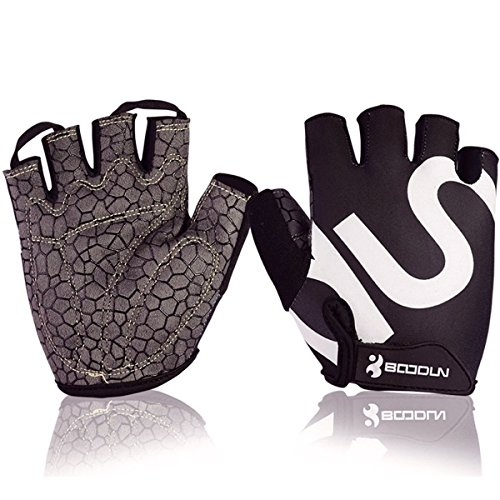 Ezyoutdoor Black Half Finger Bicycle Gloves with Thick Gel Pad Shock-absorbing and Silicone Printing Slip Resistant for Cycling Biking Hiking Camping Jogging Men/Women (X-Large)