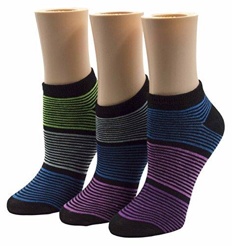 JA Hosiery Womens No Show Low Cut Ankle Socks 3 Pack Bundle (9-12) in Multi Stripes
