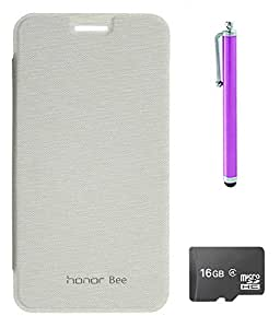 TBZ Flip Cover Case for Huawei Honor Bee ? with Stylus and 16GB MicroSD -White