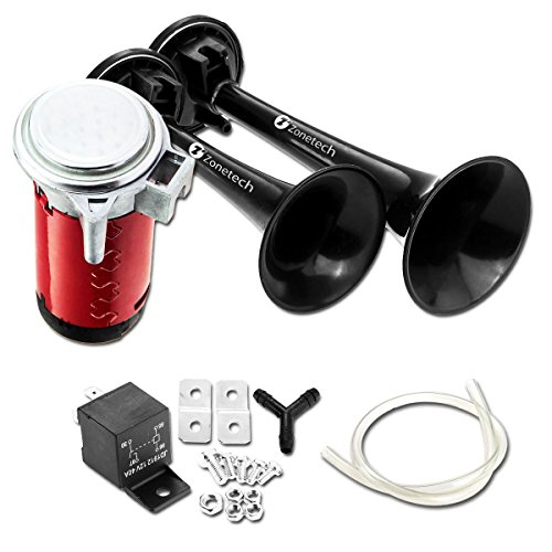 Zone Tech 12V Dual Trumpet Horn - Premium Quality Classic Black Super Loud Powerful Train Sound Shiny Dual Car Van Truck Boat Air Horn (Tractor Accesories compare prices)