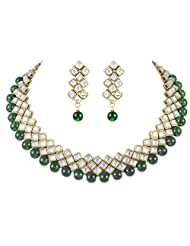 Designer Kundan Choker Traditional Jewellery Set In Green Color For Women By Shining Diva