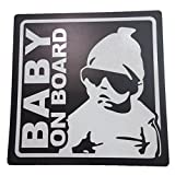 BABY ON BOARD 赤ちゃん 乗車中 ( 12cm マグネット ステッカー ブラック )