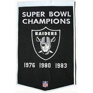 Oakland Raiders Embroidered 36x24 Wool Banner by Winning Streak