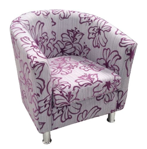 Designer tub chair in designer fabric (Purple)