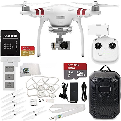 DJI Phantom 3 Standard with 2.7K Camera and 3-Axis Gimbal & Manufacturer Accessories + DJI Propeller Set + Water-Resistant Hardshell Backpack + MORE (Ultra Micro Charge Cable compare prices)