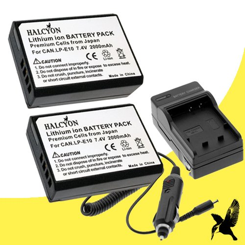 Two Halcyon Brand 2000 mAh Replacement Canon LP-E10 Batteries and Charger for Canon EOS Rebel T5, EOS Rebel T3 Digital SLR Camera and Canon LPE10 (Halcyon Extra Battery compare prices)