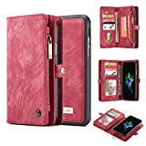 iPhone X Case,AKHVRS Handmade Premium Cowhide Leather Wallet Case,Zipper Wallet Case [Magnetic Closure]Detachable Magnetic Case & Card Slots for iPhone X - Red