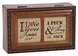 I Love You A Bushel & A Peck Wood Finish Jewelry Music Box Plays Tune You Light Up My Life