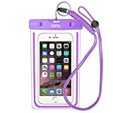 Waterproof Phone Case: EOTW Water Proof Phone Pouch Pocket Dry Bag with Lanyard For iPhone 6 6S Plus 5 5S 5C SE Samsung Galaxy S4 S5 S6 S7 Edge Blu LG Moto NOKIA HTC For Diving Surfing Skiing - Purple