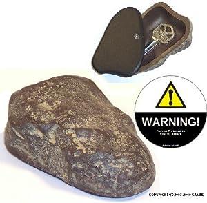 Rock Key Hider (Brown Tone) & Warning Decal Set