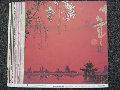 Oriental Collection of 12x12 Glitter Scrapbook Paper 18 Sheets Variety Set 4