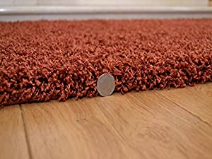 Soft Touch Shaggy Rust Thick Luxurious Soft 5cm Dense Pile Rug. Available in 7 Sizes from Rugs Supermarket
