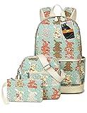 Leaper Cute Canvas Backpack Laptop School Bag Shoulder Bag Purse Case 3PCS Light Blue
