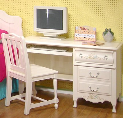 Buy Low Price Comfortable Computer Desk by American Woodcrafters – Fresh White with light translucent distr (67100-342) (B004SZ5XS2)