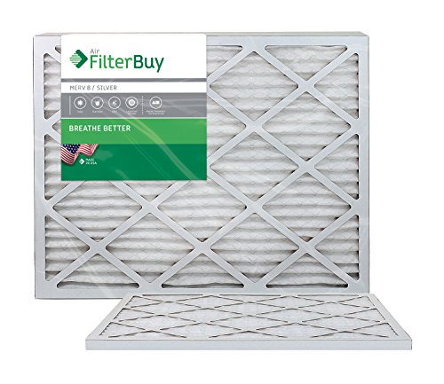 AFB Silver MERV 8 16x24x1 Pleated AC Furnace Air Filter. Pack of 2 Filters. 100% produced in the USA. (Air Conditioning Filters 16x24x1 compare prices)