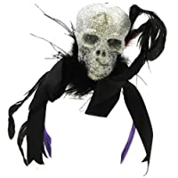 Halloween Glitter Skull Headband Hat - Black Headband from C&F