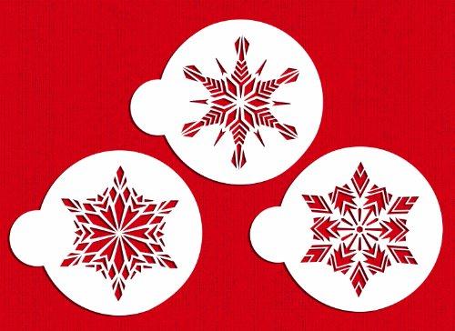 Designer Stencils C276 Large Crystal Snowflakes Cake Stencils, Beige/semi-transparent