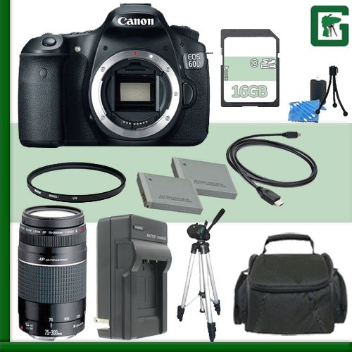 Canon Eos 60D Digital Slr Camera And Canon 75-300Mm Iii Usm Lens + 16Gb Green'S Camera Package 1